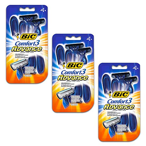 BIC Comfort 3 Advance Men's Disposable Razors, 12 Count