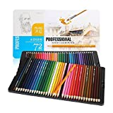 NIUTOP 72-Color Watercolor Pencils, Metal Tin, Assorted Colors, Water Soluble Colored Pencil Set (72 Count Tin)