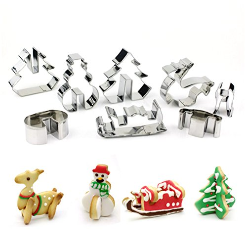 Warmoor 3D Christmas Cookie Cutter Set, Favorite Holiday Shapes including Deer, Snowman, Christmas Tree and Sled, 18/0 Stainless Steel