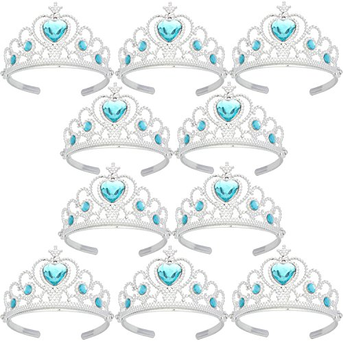 Small Plastic Tiaras (Tiaras and Crowns for Little Girls Toys Silver Plating Plastic Tiaras Sky Blue(10)
