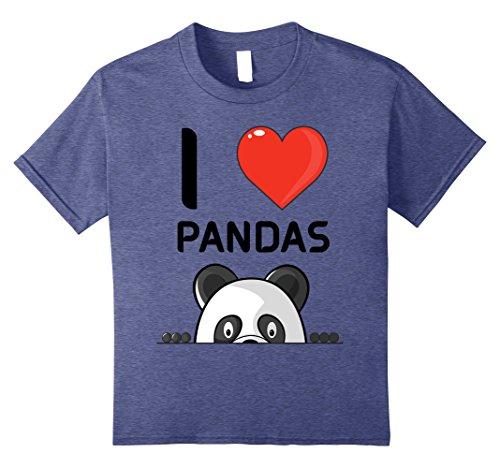 Love Panda Bears - Kids I Love Pandas T-Shirt - Cute Giant Panda Bear Lovers Shirt 8 Heather Blue