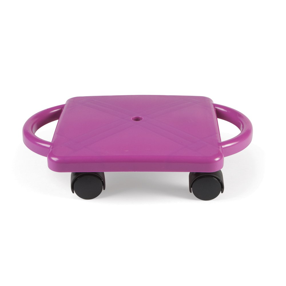 hand2mind 77103 Purple Indoor Scooter Board With Safety Handles For Kids Ages 6-12, Plastic Floor Scooter Board With Rollers, Physical Education For Home, Homeschool Supplies (Pack of 1)