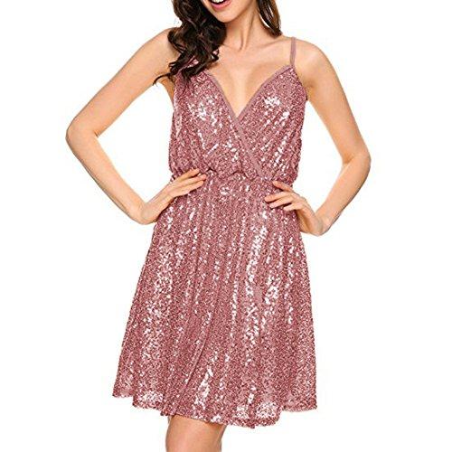 Damen Sommer Kleid Sexy Alinie Solide Swing Abendkleid mit ...