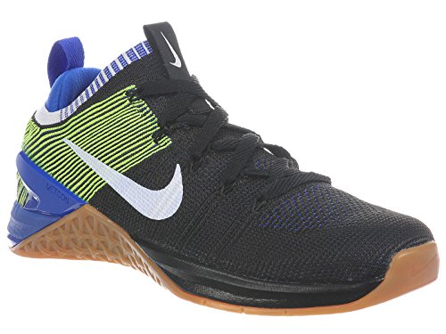 Nike Men's Metcon DSX Flyknit 2 Running Shoe (9.5, Black/White/Racer Blue/Volt)