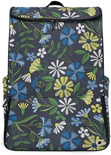 リュック メンズ レディース リュックサック 3way バックパック 大容量 ビジネス 多機能 手描きの花柄 青い スクエアリュック シューズポケット 防水 スポーツ 上下2層式 アウトドア旅行 耐衝撃