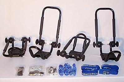 Folding J-style Kayak Rack Automobile Roof Top Rack by Pack'em Racks - 2 Sets - Satin Black