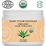 Mary Tylor Naturals Organic Aloe Vera Gel Large 4 oz Jar, USDA Certified, Premium Grade, 100% Organic, Natural and Cold Pressed - For Face, Skin, Hair, Sun Burns, Damaged Skin and Acne