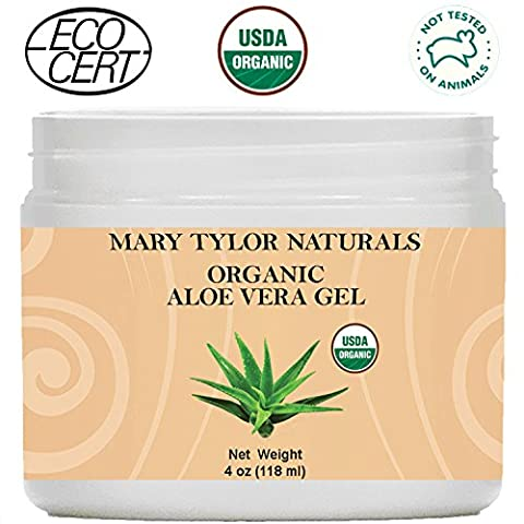 Mary Tylor Naturals Organic Aloe Vera Gel Large 4 oz Jar, USDA Certified, Premium Grade, 100% Organic, Natural and Cold Pressed - For Face, Skin, Hair, Sun Burns, Damaged Skin and - Therapy Bath 1 Lb Powder