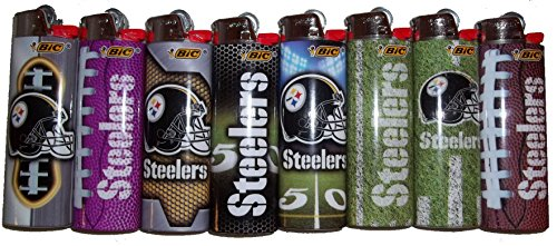 - Bic Lighters Pittsburgh Steelers NFL Officially Licensed Full Size 8pc Set