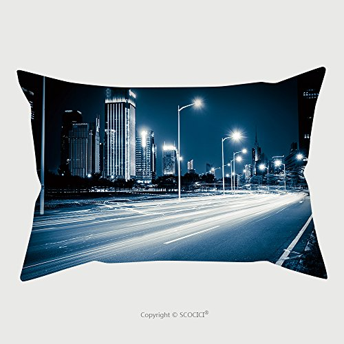 Custom Microfiber Pillowcase Protector Light Trails On The Modern City Street At Night 156328772 Pillow Case Covers Decorative price