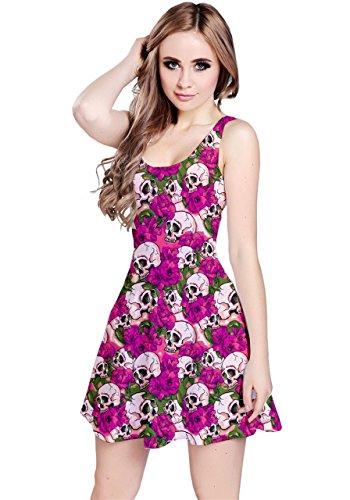 Vestido ondulado CowCow con flores y calaveras sin mangas para mujeres Rosa
