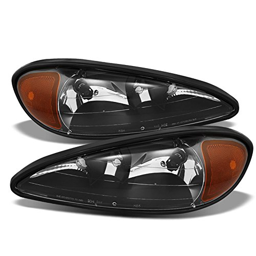 ACANII - For Black 1999 2000 20001 2002 2003 2004 2005 Pontiac Grand Am Headlights Headlamps Driver + Passenger Side