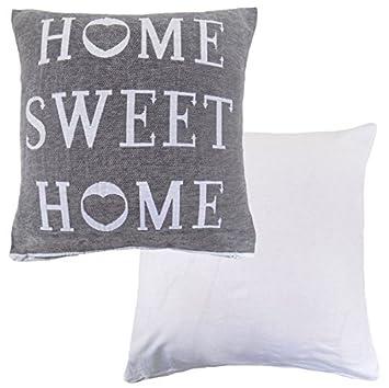 gefullt home sweet home baumwolle weiss grau 45 72 cm kissen 45 cm amazon de garten