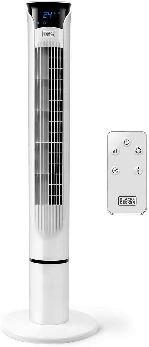 Black + Decker – BXEFT49E Ventilador de torre digital oscilante con mando a distancia extra alto 102 cm y silencioso. 3 velocidades. 3 modos. Temporizador 12h. Temperatura ambiente. Potente. Blanco.