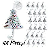 Christmas Ornament Hooks - Set of 48 Whimsical Christmas Tree Ornament Hangers - Adored with Fun Confetti Like Glitter - Christmas Ornament Display