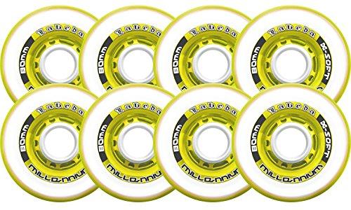 Labeda Inline Roller Hockey Skate Wheels Millennium Gripper Yellow 80mm Set of 8