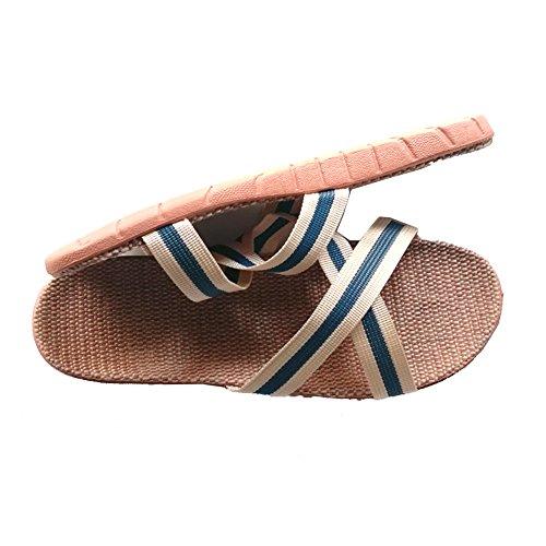 Linen Women Men Beach Slippers Blue House Shoes Floor Slipper Flops for Women HRFEER Flip Sandals Silent gqFx0BwnT