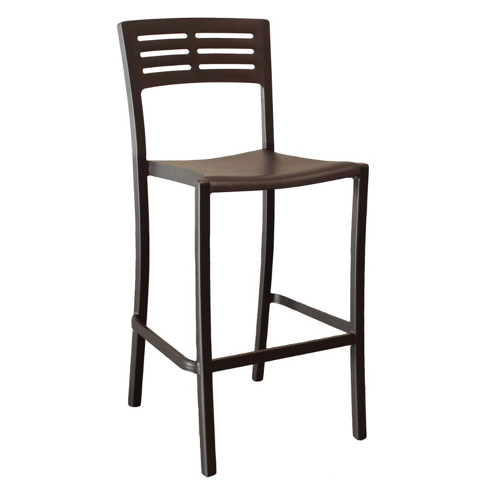 Grosfillex US638017 Vogue Stacking Barstool, Armless, Black (Case of 8)