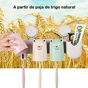 Celyc Tazas de paja de trigo(pack de 3),Con sostenedor de mismo material que puede fijar las tazas a la pared.Higiénico,elegante,ecológico