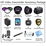 Ultimate HD Video Accessory Package For The Sony NEX-VG10, VG20, VG30 HD Camcorders. Includes 3 Piece Filter Kit, Wide Angle Lens, Telephoto Lens, Soft Carrying Case, 16GB SDHC Memory Card, SD Card Reader, Sony NP-FV100 Replacement Battery, Rapid Travel C