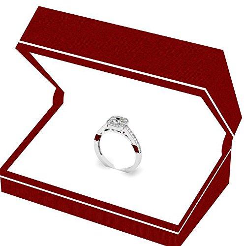 0.50 Carat (ctw) 14K Gold Princess & Round Diamond Ladies Halo Style Engagement Ring 1/2 CT