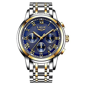 Mens Watches, LIGE Watches for Men Fashion Sports Waterproof Wristwatch Men Bussiness Dress Analog Quartz Stainless Steel Watch Hombres Relojes Relojes de Pulsera Ropa, Zapatos y Joyería