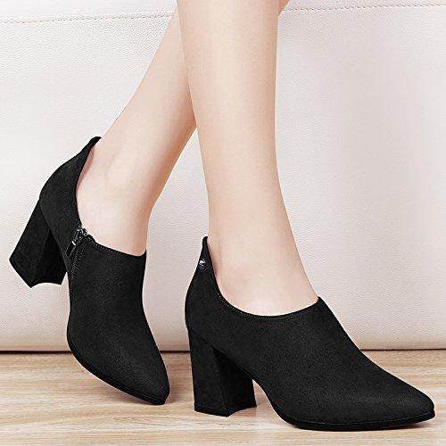 Zapatos De Salvaje 39 Altos Coreana Salvaje Negro Mujer Con Primavera 38 Moda La Zapatos Punta De Fina Invierno Otoño De De Marea Tacones La Versión Mujer AJUNR A5Fq7wRx