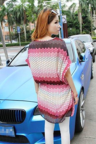 Multicolore Manche Mousseline De Col Rond Lâche Bigood Femme Courte Robe Soie vYbf6y7Ig