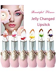Pack of 6 Crystal Flower Jelly Lipstick, FirstFly Long Lasting Nutritious Lip Balm Lips Moisturizer Magic Temperature Color Change Lip Gloss (B)