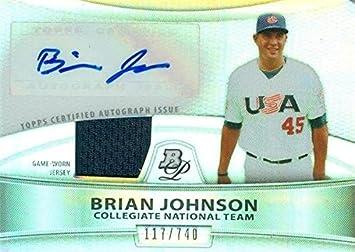 Brian johnson autographed player worn jersey patch baseball card brian johnson autographed player worn jersey patch baseball card team usa 2010 bowman platinum sciox Gallery