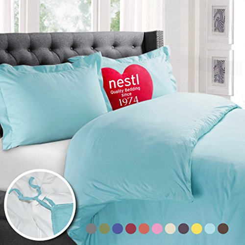 Nestl Bedding Duvet Cover, Protects and Covers your Comforter / Duvet Insert, Luxury 100% Super Soft Microfiber, Queen Size, Color Aqua Light Blue, 3 Piece Duvet Cover Set Includes 2 Pillow Shams