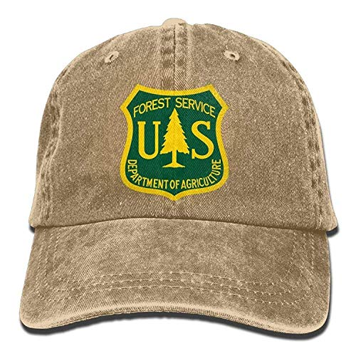 LFishera US Forest Service Flag Plain Adjustable Cowboy Cap Denim Hat for Women and Men