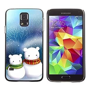 Be Good Phone Accessory // Dura Cáscara cubierta Protectora Caso Carcasa Funda de Protección para Samsung Galaxy S5 SM-G900 // Cute Snow Men Friends Christmas