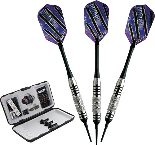 Viper Bobcat Adjustable Weight Soft Tip Darts with Storage/Travel Case: Nickel Silver Plated, Black Rings, 16-18 (Gram Soft Tip Darts)