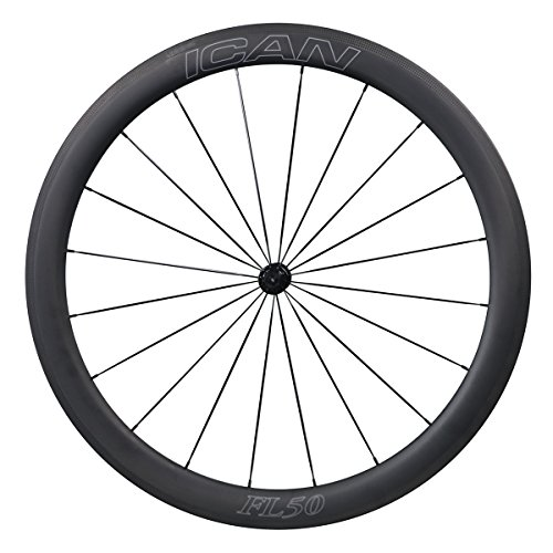 ICAN Carbon Road Bike Wheelset 25mm Wide 50mm Deep Clincher Tubeless Ready