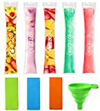 Ozera 150 Pack Popsicle Molds Bags, DIY Disposable Ice Pop Bags, FDA Approved Popsicle Pouches with Silicone Funnel & 3 Pop Holders, Perfect for Homemade Zero-calorie Healthy Snacks
