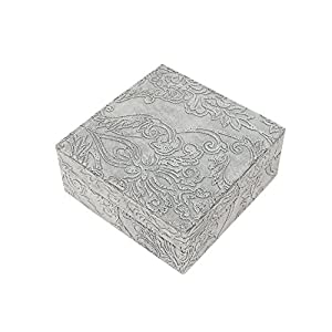 Truu Design, 7 x 7 inches, Jewel Box with Embossed Pattern, Grey