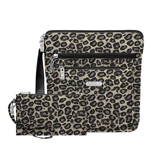Purse Bagg Cross Body (Baggallini RFID Pocket Travel Crossbody Bag -Wristlet Key Foab Purce Charm (Leopard))