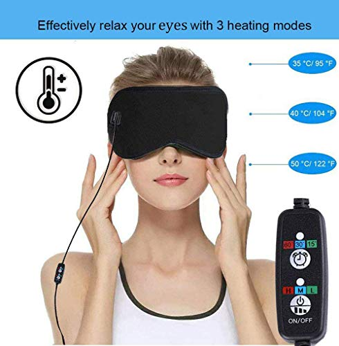 Heated Eye Mask to Relieve Eye Stress,Hot Portable Electric Heating Pad for Eyes,USB Sleep Mask,Adjustable Temperature Time Control,Eye Mask For Puffy Eyes, Dry, Tired Eyes and Dark Circles