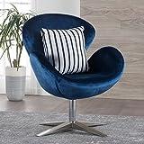Manhatten New Velvet Modern Swivel Chair (Navy Blue)