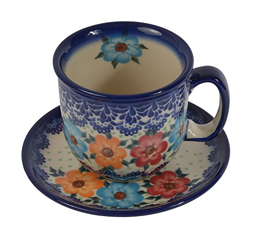 Traditional Polish Pottery, Handcrafted Ceramic Coffee Cup and Saucer 275ml, Boleslawiec Style Pattern, F.201.BLUELACE