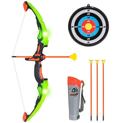 Best Choice Products Kids Light-Up Sports Archery Toy Play Set w/ 3 Light Modes, Bow, 3 Suction-Cup Arrows, Quiver, Mount Target - Green ()