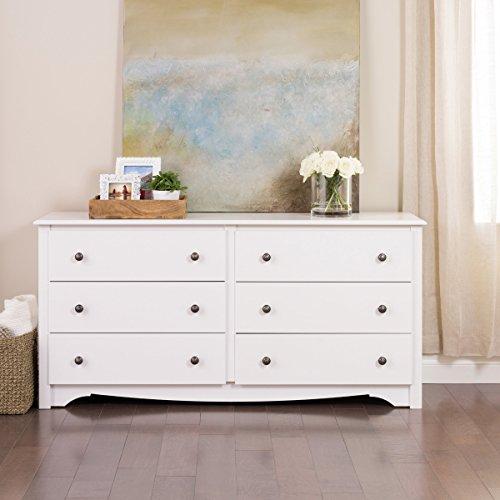 Premium Traditional Modern Dresser - Six Drawer Chest for Bedroom Divider Furniture Home Storage Closet (White) (Built In Dresser Closet)
