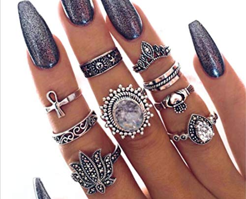 Intertwined Crossover Statement Ring Fashion Band Rings for Women Men Gold Silver Plated Index Finger Rings Costume Jewelry,Retro Lotus Cross Ring 9-piece Joint Ring