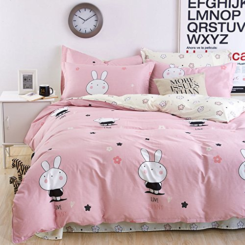 Modern Bunny (Children Beddingset Sheet Set Without Comforter Duvet Cover Pillow Cases Twin Full Queen Kids Beddingset 4pcs (Full, Lovely Bunny Pink))