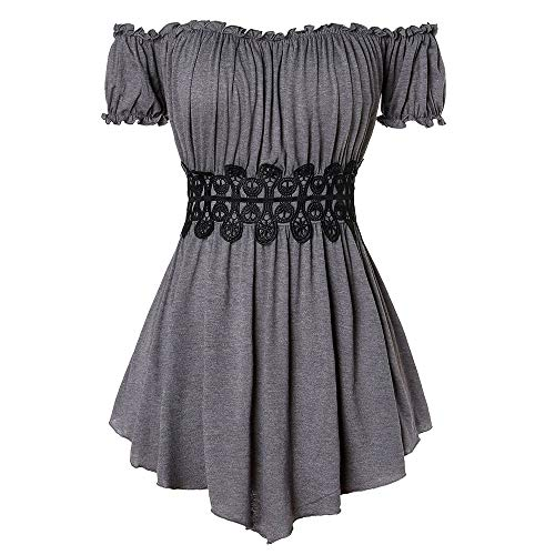 (ZEZCLO Women's Plus Size Tops Off-Shoulder Flounce Sleeves Corset Waist Pleated Tunic Blouse Shirt Gray)