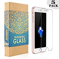 [5-Pack] iPhone 7 Plus iPhone 8 Plus Screen Protector KAFKA Tempered Glass Screen Protector Clear,9H Hardness, Anti-Scratch, Anti-Fingerprint for Apple iPhone 7 Plus and iPhone 8 Plus [5.5 inch]