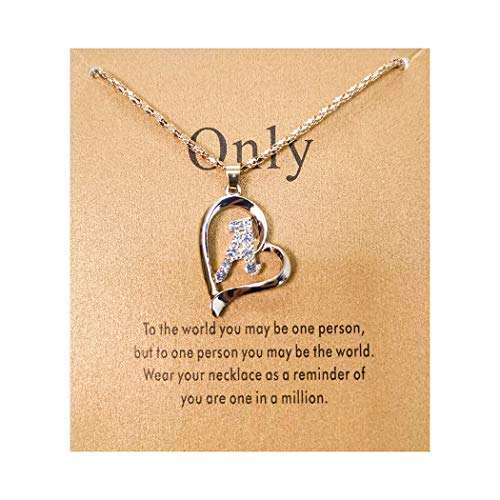 (7th Moon Letter Pendant Necklace Initial Heart Pendant Popcorn Chain Statement Necklace with Message Card for Women Gift)