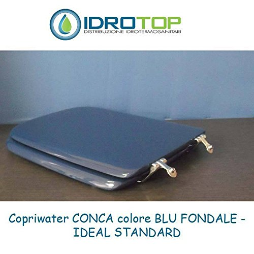 ACB//COLBAM Copriwater in Legno Rivestito di Poliestere per Ideal Standard CONCA BLU FONDALE Cerniera Oro-Sedile-Asse Wc