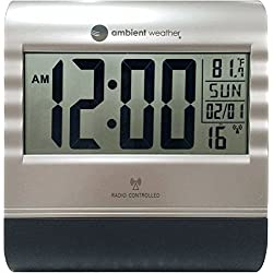 Ambient Weather RC-9362 Atomic Digital Desk and Wall Clock with Temperature